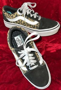 VANS LEOPARD PRINT COMFYCUSH OLD SKOOL KIDS SKATEBOARD SHOES US SIZE 1 WORN ONCE