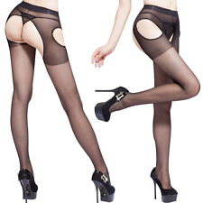 Women's Sexy Pantyhose Tights Suspender Crutchless Sheer Open Crotch Stockings