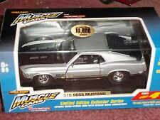 TOOTSIE TOY 1970 BOSS 302 FORD MUSTANG STREET MACHINE SILVER w DISPLAY CASE 1/32