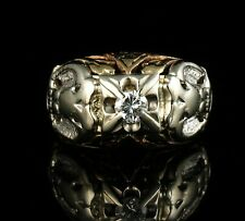 VINTAGE NATURAL 1/3ct DIAMOND DOUBLE EAGLE MASONIC 32ND DEGREE GOLD MENS RING