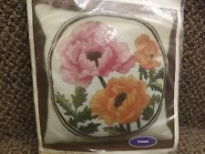 """Vtg 1982 NEW NOS Colorful Poppies Floral 16"""" Throw Pillow Crewel Embroidery Kit"""