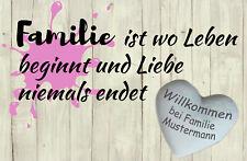 Personalisierte Fußmatte Familie Liebe pink grau Herz Holz Geschenk vintage