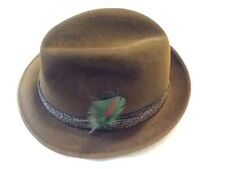 """Mallory Brown Fur Felt Fedora Hat  21 1/2"""" Around. Twisted Rope Band-EXEC. Cond."""