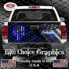 Police Punisher Skull Flag Camo Truck Tailgate Wrap Vinyl Graphic Decal