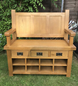 OAK MONKS BENCH SETTLE HALL SEAT BENCH WITH DRAWERS SHOE STORAGE - COLLECTION