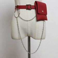 Lady PU Faux Leather Belts Waist Bag Pack Punk Gothic Rock Metal Chain Waistband