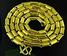 9999 24K Yellow Gold Round Barrel handmade chain necklace  USA 75.00 grams