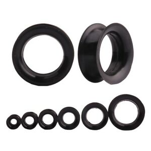 BLACK Silicone Ear Flesh Tunnels Piercing Stretchers Jewellery Plugs Flared TU11