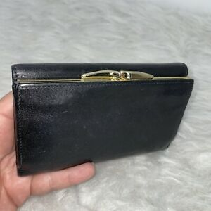Oroton Black Leather Wallet Gold Hardware Accents