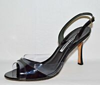 MANOLO BLAHNIK SZ 7 M 38 BLACK PATENT LEATHER CLEAR PVC SLINGBACK SANDALS ITALY