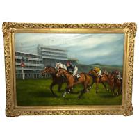 Fine Art 20th Century Epsom Derby Horse Racing Oil Painting Near Winning Post