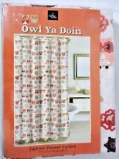Owl Ya Doin' Fabric Shower Curtain Tan Brown Birds on Wire Floral Flower Bath