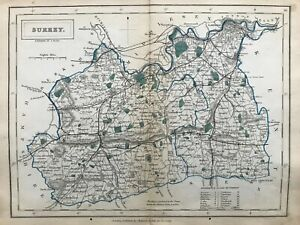 1875 Antique map - Surrey- from Hall's Travelling atlas of England