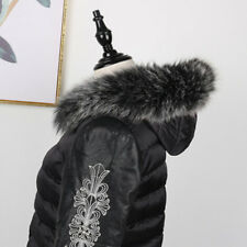 "Real Black&White Fox Fur Collar Fur Hood Trimming Scarf  75*12cm/29.5X4.7"" US"