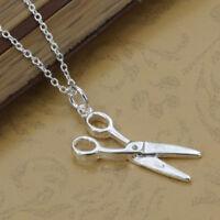 ASAMO Damen Halskette Anhänger Schere Sterling Silber plattiert Friseur H1102
