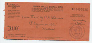 1945 $1000 savings bond duplicate registration stub Westown PA [S.154]