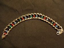 "VTG Milor Italy southwest style multi stone sterling silver 925 bracelet 7"""