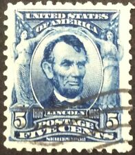 Series of 1902-03 5c Lincoln regular Issue, Scott #304, Used, VF