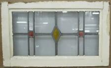 """Old English Leaded Stained Glass Window Simple Diamond & Squares 21.25"""" x 13"""""""