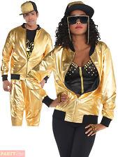 Adult Gold Bomber Jacket Mens Ladies 80s Hip Hop Rapper Fancy Dress 1980s Outfit