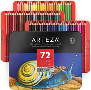 Arteza Wax-Based Colored Pencil Set, 72 Colors in Tin Box, New!
