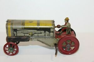 VINTAGE DISTLER TIN PENNY TOY WIND UP TRACTOR with DRIVER  made in GERMANY