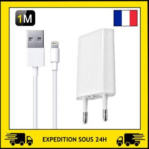 CHARGEUR PRISE SECTEUR / CABLE USB 1M POUR APPLE IPHONE SE/5/6/7/8/X/XR/11/12PRO