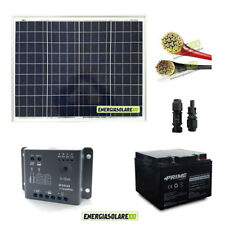 Kit pannello fotovoltaico 50W 12V batteria 24Ah e cavi 4mmq PVC