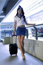 Costume Completo Hostess Aerei Airline Molto Sexy Cosplay Flight Attendant Blu