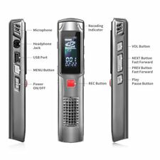 Digital Voice Recorder Dictaphone 8GB Voice Activated Audio USB High Quality