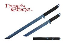 2 PC Set Full Tang Blue Blade Straight Ninja Sword with Sheath NEW