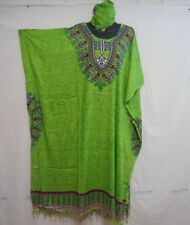 Women Long Dashiki African Caftan Dress Hippy House Outfit  Gown Plus size Lime