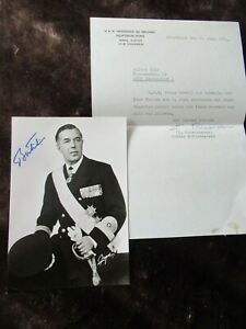 Prince Bertil of Sweden Hand Signed Photograph Plus Office Thank you Letter 1981