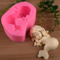 3D Silicone Mermaid Baby Mould Chocolate Fondant Cake Soap Paste Clay Resin Mold