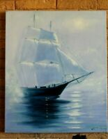 seascape oil painting sunset ship sailboat ocean Beach scene sea nautical wall