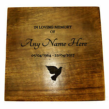 Wooden Funeral Cremation Urn For Ashes Made From Mango Wood Personalised Lasered