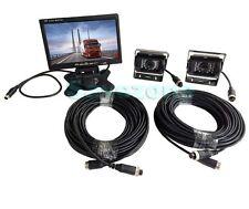 """2 x Waterproof CCD Reversing Camera 4Pin+ 7"""" LCD Monitor Caravan Rear View Kit"""