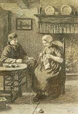 David Adolph Constant Artz (1837-1890) Fusain original:étude pour jeune amour