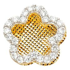 Floral Polished Fancy 11 x 11 mm Flower Charm Solid 14k Yellow Gold Pendant Cz