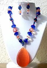 Women's Orangfe,Blue and Green  Pendant  Necklace Set