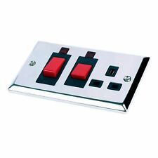 45 Amp Cooker Switch & Socket Polished Chrome with Neons Double Oven Electric