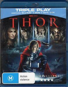 THOR starring Chris Hemsworth (Blu-ray DVD Triple Play, 2-disc set, 2015)