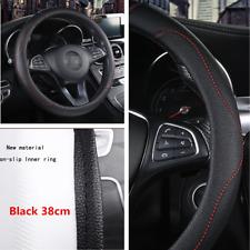 "15""/38cm Black Non-slip PU Leather Car Truck Steering Wheel Cover Accessories"