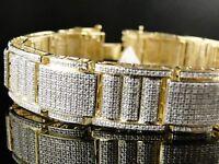 Mens Xl Yellow Gold Pave Diamond Bracelet Bangle 6.0 Ct