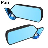 Pair Blue Car Side Mirror Rearview Metal Bracket Side F1 Style Carbon Fiber Look