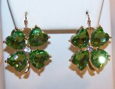Shamrock Rhinestone Earrings-St. Patrick's Day-Green Clear Stones-Hooks-New
