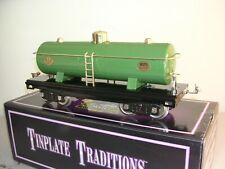 MTH Tinplate 10-1051 No. 215 Tank Car<+>Pea Green W/Brass Trim<+>Original Box<+>