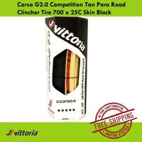 Vittoria Corsa G2.0 Competition 700 x 23C//25C Skin Black Tan Para Clincher Tire