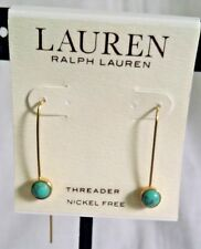 NWT! MINT! LAUREN RALPH LAUREN Semi-precious Threader Earrings-Turquoise