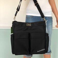 NEW! Kate Spade Black Avenue Smooth Nylon Shoulder Baby Bag Handbag Purse Black